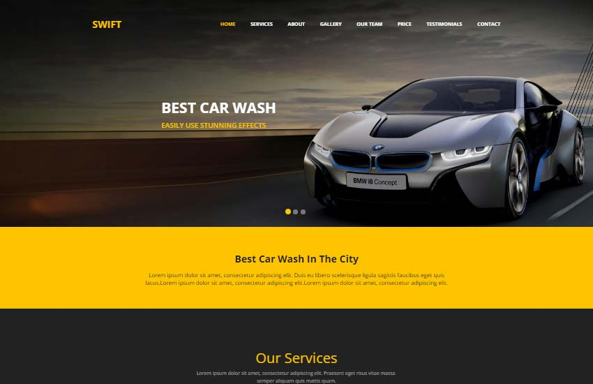 swift-car-wash-template - 75+ Free Responsive Automobile HTML Template 2019