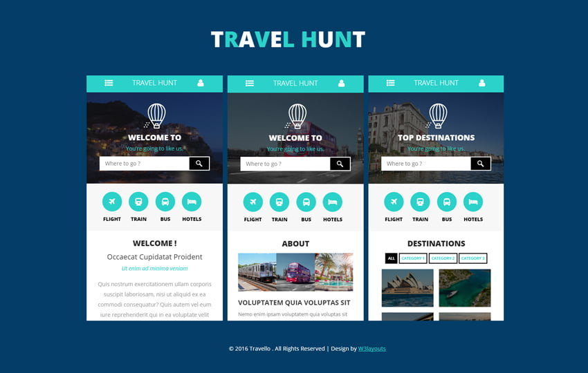 travel-hunt - 56+ Best Free App Landing Page HTML Website Templates [year]