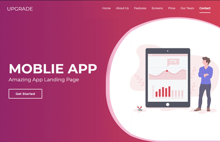 upgrade-bootstrap-4-landing-page-website-template - 56+ Best Free App Landing Page HTML Website Templates