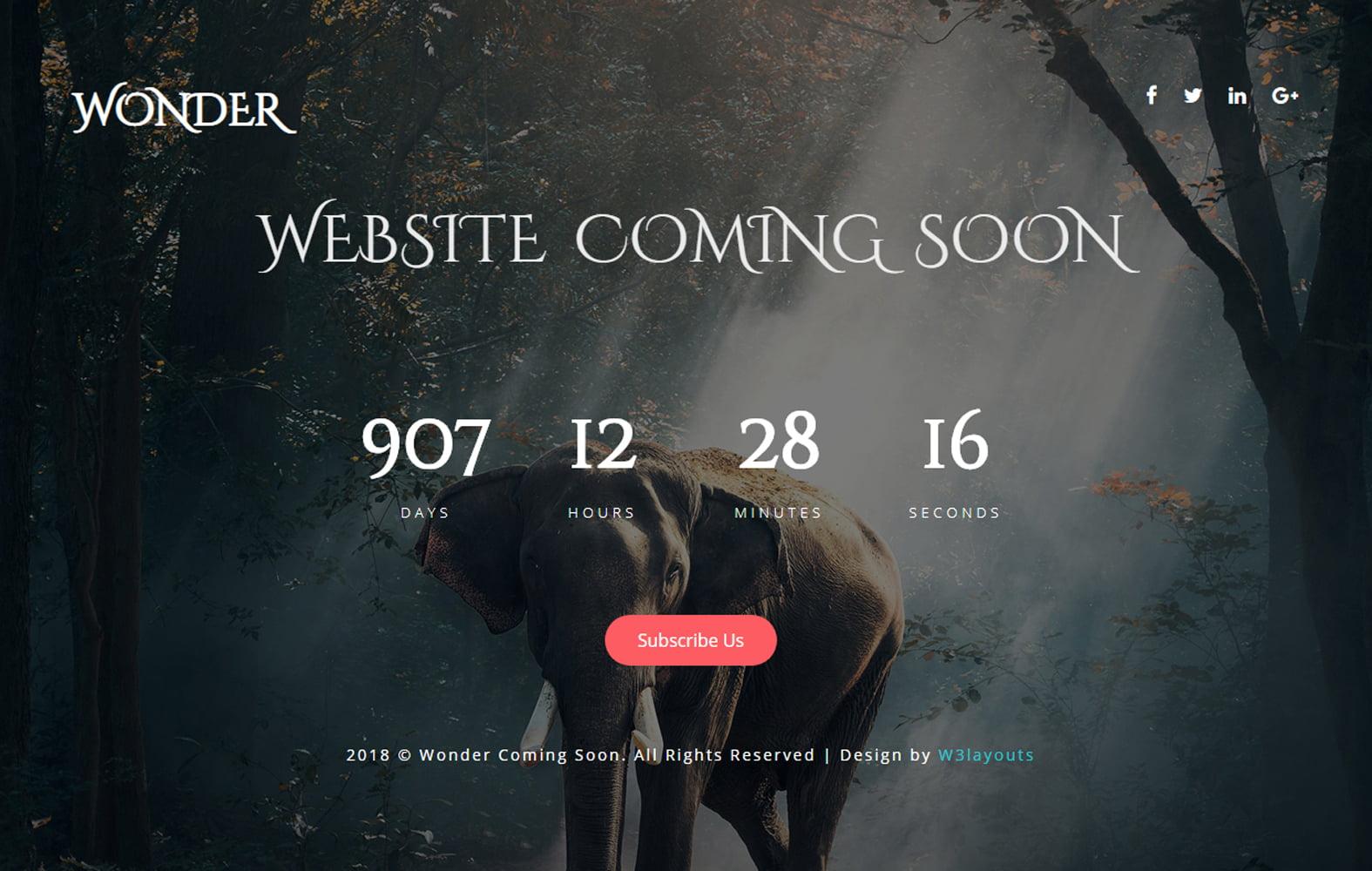 wonder_coming_soon - 75+ Free Coming Soon HTML Responsive Templates 2019