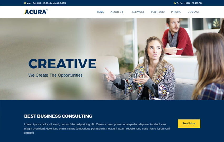 Acura-Multi-purpose-Free-HTML5-Template - 62+ HTML Free Consulting Responsive Website Templates