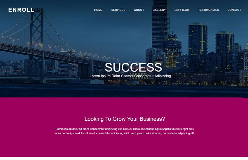 Enroll-Corporate-Bootstrap-Template-1 - 62+ HTML Free Consulting Responsive Website Templates