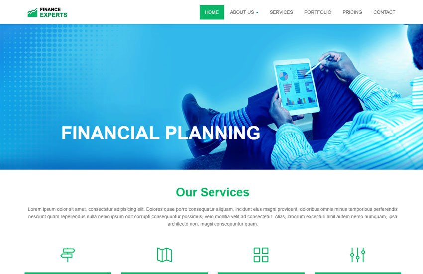 Financial-Services-Bootstrap-Corporate - 62+ HTML Free Consulting Responsive Website Templates
