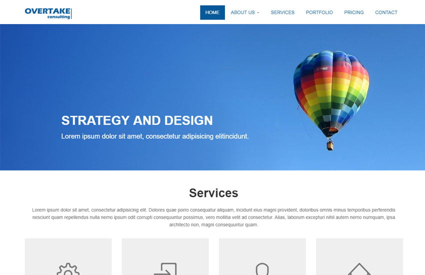 Overtake-Bootstrap-Corporate-Web-Template - 62+ HTML Free Consulting Responsive Website Templates
