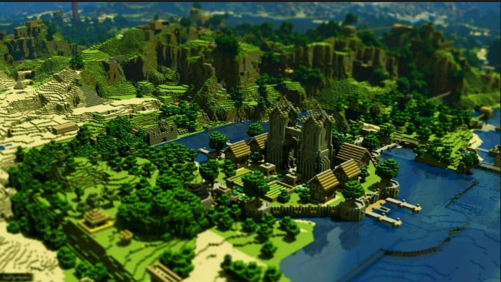 minecraft_trees_houses_mountains_water_ - 125+ Free Download Full HD Gaming Wallpapers [year]