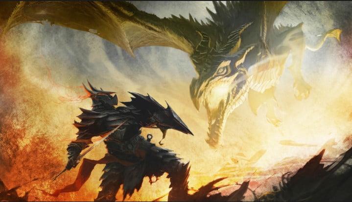 the_elder_scrolls_skyrim_art_dragon_daedric_armor_battle - 125+ Free Download Full HD Gaming Wallpapers [year]