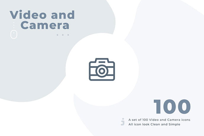 100-Video-And-Camera-Icon-Set - 35+ Stunning Photography Icon Sets [year]