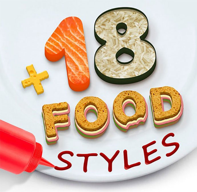 18-Food-Styles - 35+ Tasty Food & Drink Photoshop Text Effects