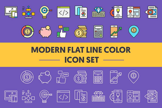1960-Modern-Flat-Line-Color-Icons - 35+ Stunning Photography Icon Sets [year]