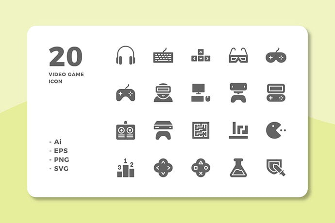 20-Video-Game-Icons-Solid - 35+ Fantastic Game Icon Sets [year]