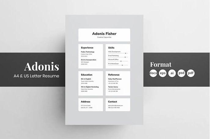 22-2 - 35+ Stunning Black & White Resume Templates [year]
