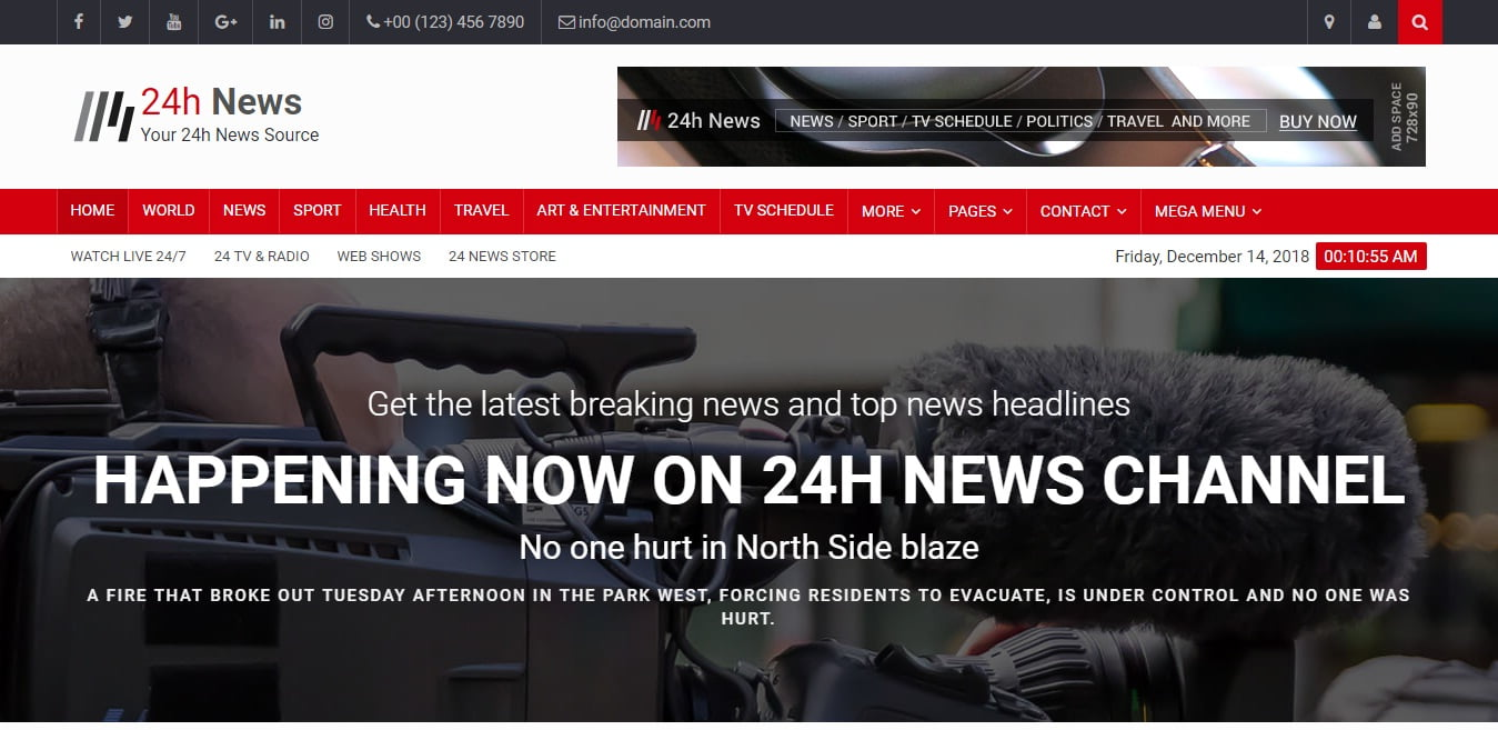 24h-News - 45+ Responsive News Website Templates [year]