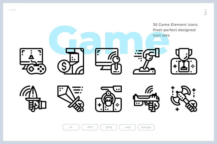 30-Game-Element - 35+ Fantastic Game Icon Sets [year]