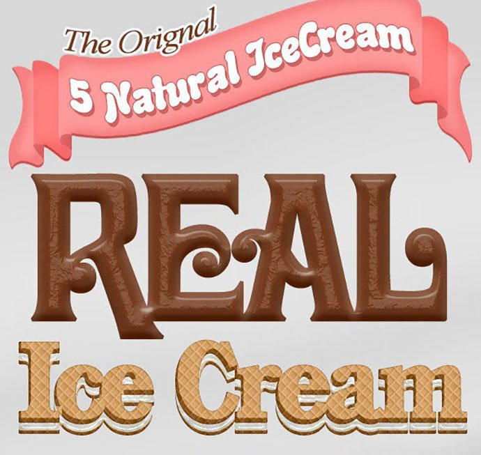 5-Real-IceCream-Text-Styles - 35+ Tasty Food & Drink Photoshop Text Effects