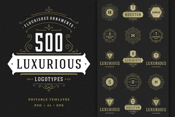 500-ornaments-logos-monograms - 35+ Excellent Monogram Logo Design Templates