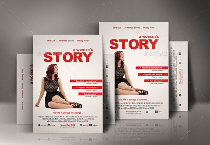 A-Womans-Story-Movie-Poster-1 - 35+ Nice PSD Movie Poster Design Templates [year]