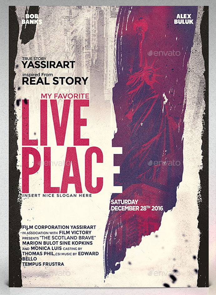 A3-Live-Place-Poster-Film-Template - 35+ Nice PSD Movie Poster Design Templates [year]