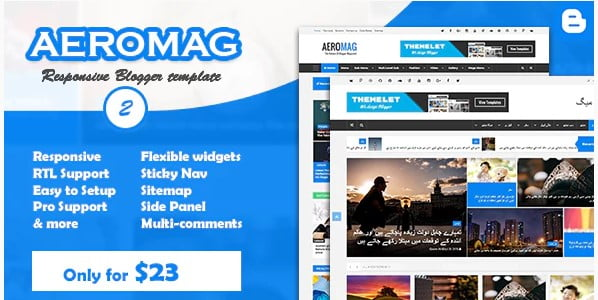 AeroMag - 35+ Best Stunning Blogger One Page Template [year]