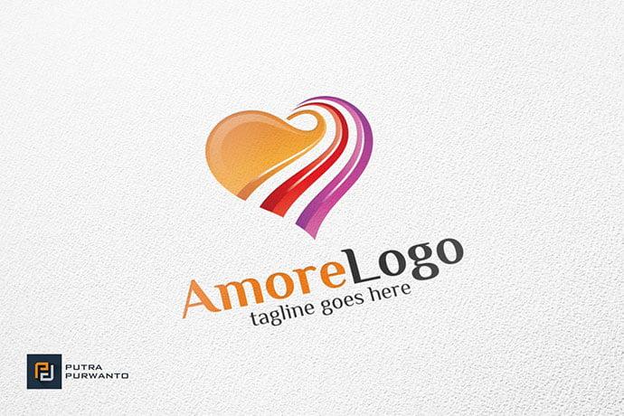 Amore-Heart - 50+ Stunning Beauty Salon Logo Design Templates [year]