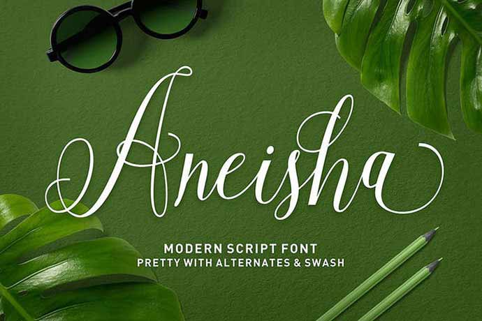 Aneisha-Script - 52+ Wonderful Fonts for Calligraphy Logo Design [year]