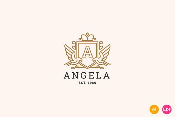 Angela - 35+ Amazing Heraldry Logo Design Templates [year]