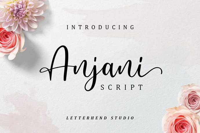 Anjani-Script-Modern-Calligraphy - 52+ Wonderful Fonts for Calligraphy Logo Design [year]
