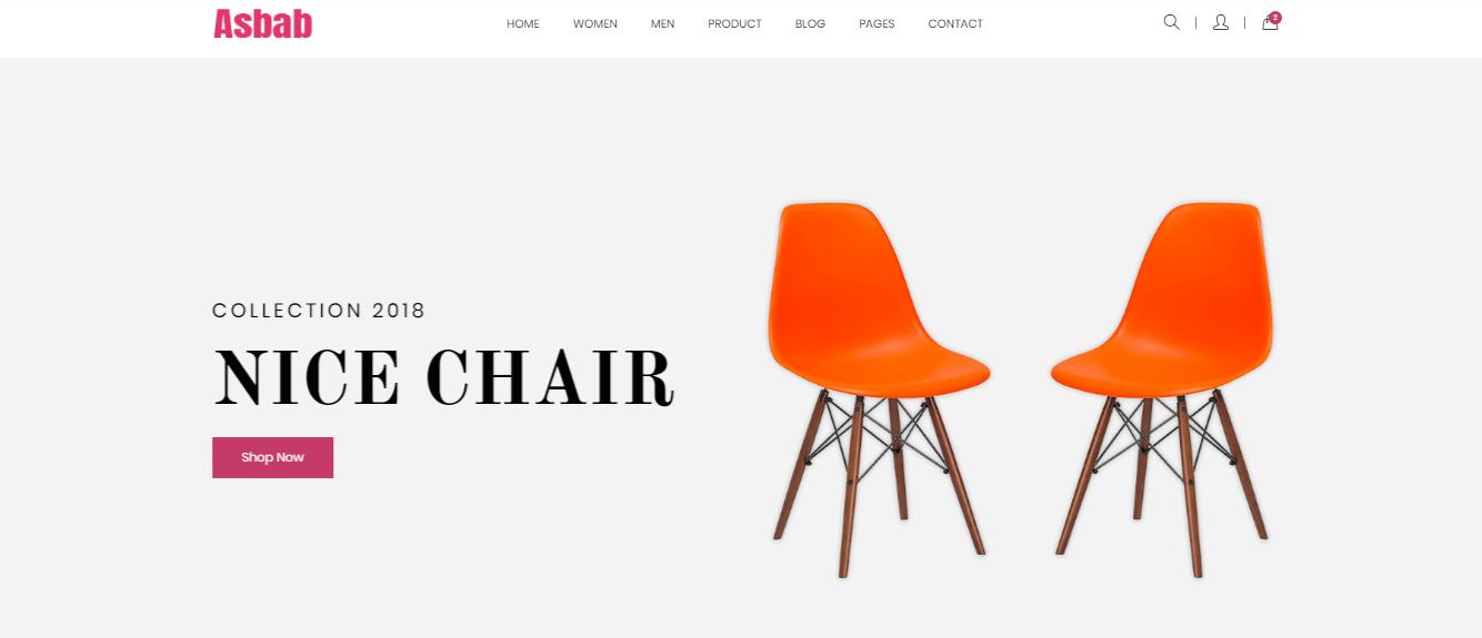 Asbab - 60+ HTML Interior & Furniture Website Templates [year]