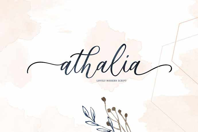 Athalia - 52+ Wonderful Fonts for Calligraphy Logo Design [year]