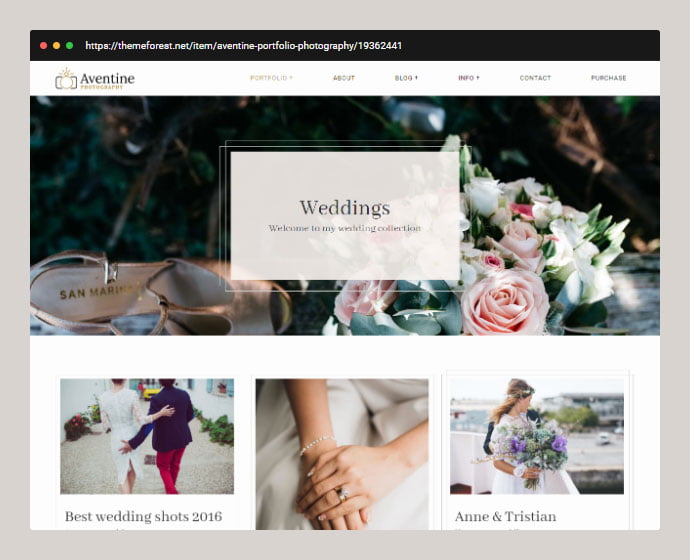 Aventine - 30+ Wedding Photography WordPress Themes [year]
