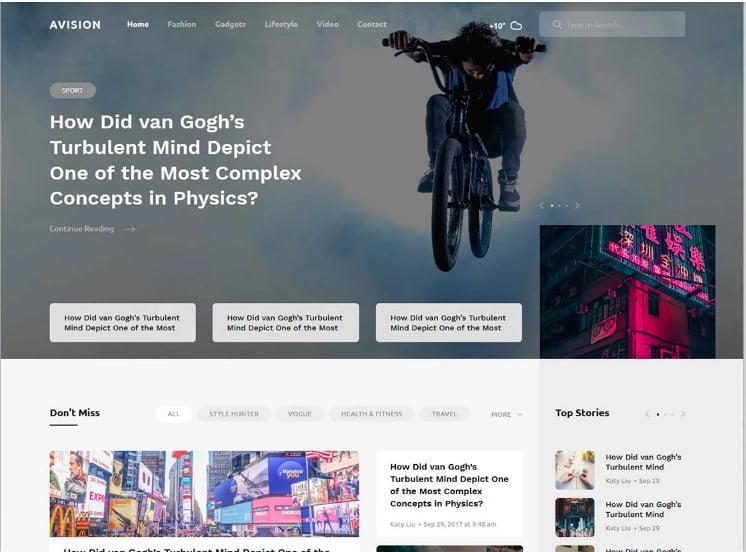 Avision - 42+ Best Free News Website Templates [year]