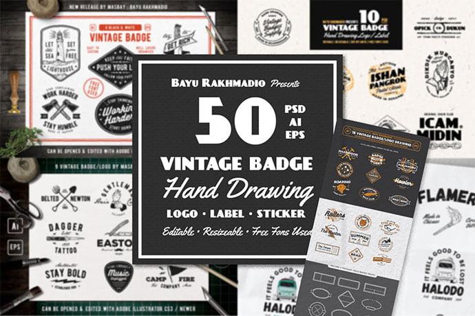Badge-Logo-Design-Templates - 30+ Amazing Hand Drawn Badge Logo Design Templates [year]