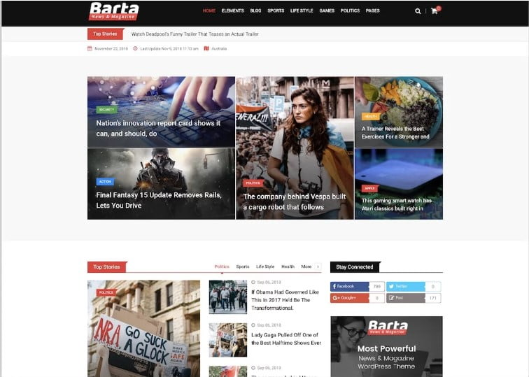Barta - Top 60+ News Magazine WordPress Themes [year]
