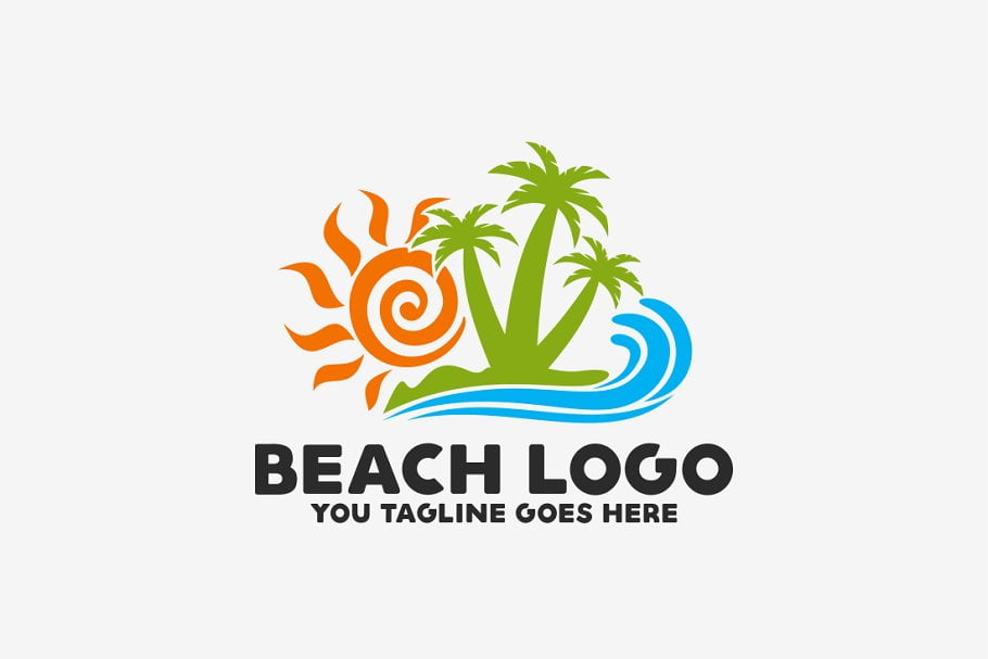 Beach - 60+ Strong Tree Logo Design Templates [year]