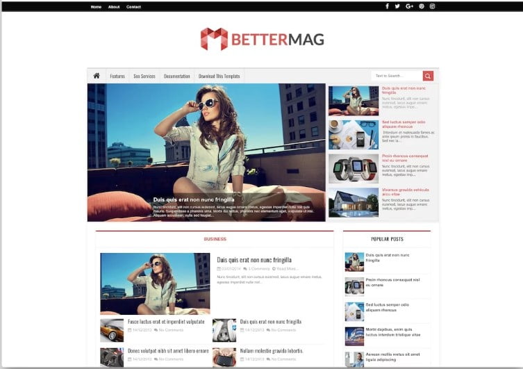 Better-Mag - 60+ Best Free Responsive News Blogger Templates [year]