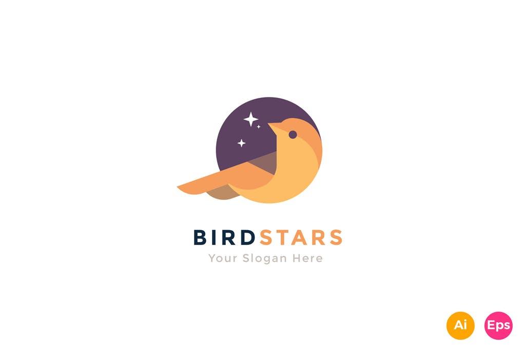 Bird-Star-Colorful-Animal-Logo-Template - 35+ Glamor 3D Flat Logo Design Templates