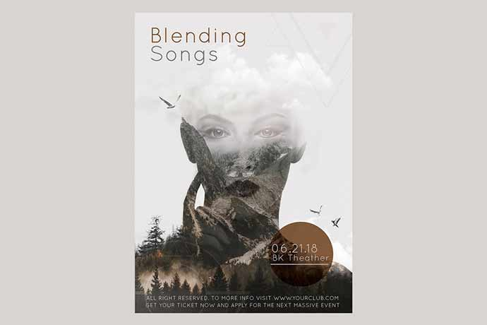 Blending-Songs-Flyer-Poster - 35+ Attractive Double Exposure PSD Flyer Design [year]