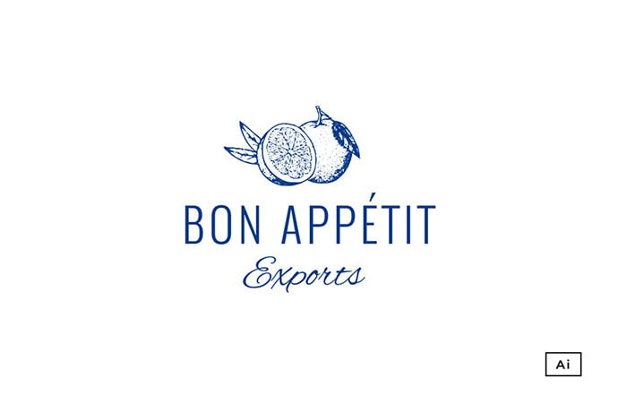 Bon-Appetit-Vintage-Logo-Template - 30+ Stunning Fruit & Vegetable Logo Design Templates