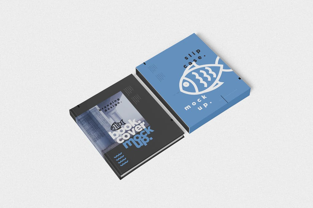 Book-Cover-Slide-Case-Mockups - 35+ PSD Book Cover Mockup Templates [year]