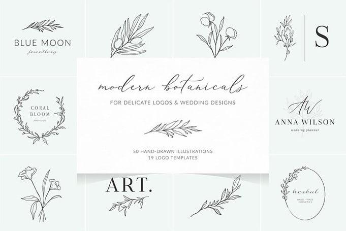 Botanical-logos-illustrations - 30+ Amazing Hand Drawn Badge Logo Design Templates [year]