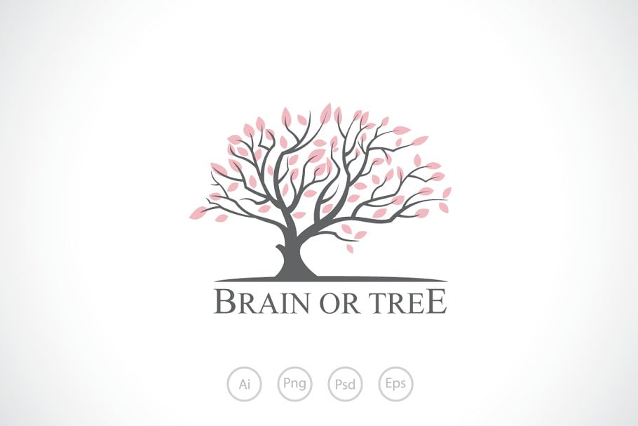 Brain-or-Tree - 60+ Strong Tree Logo Design Templates [year]
