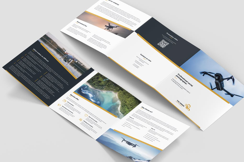 Brochure-–-Drone-Photographer-Tri-Fold-Square - 60+ Bi-fold & Tri-fold Brochure Design Templates [year]