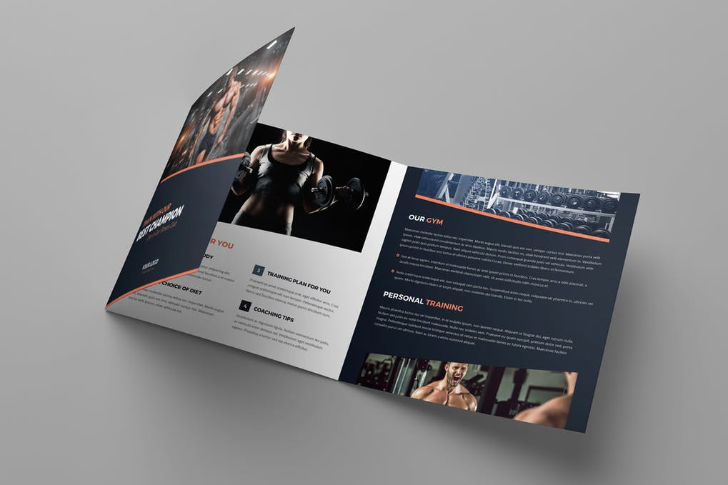 Brochure-–-Gym-Tri-Fold-Square - 60+ Bi-fold & Tri-fold Brochure Design Templates [year]