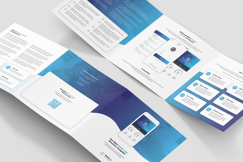Brochure-–-Mobile-App-Tri-Fold-Square - 60+ Bi-fold & Tri-fold Brochure Design Templates [year]