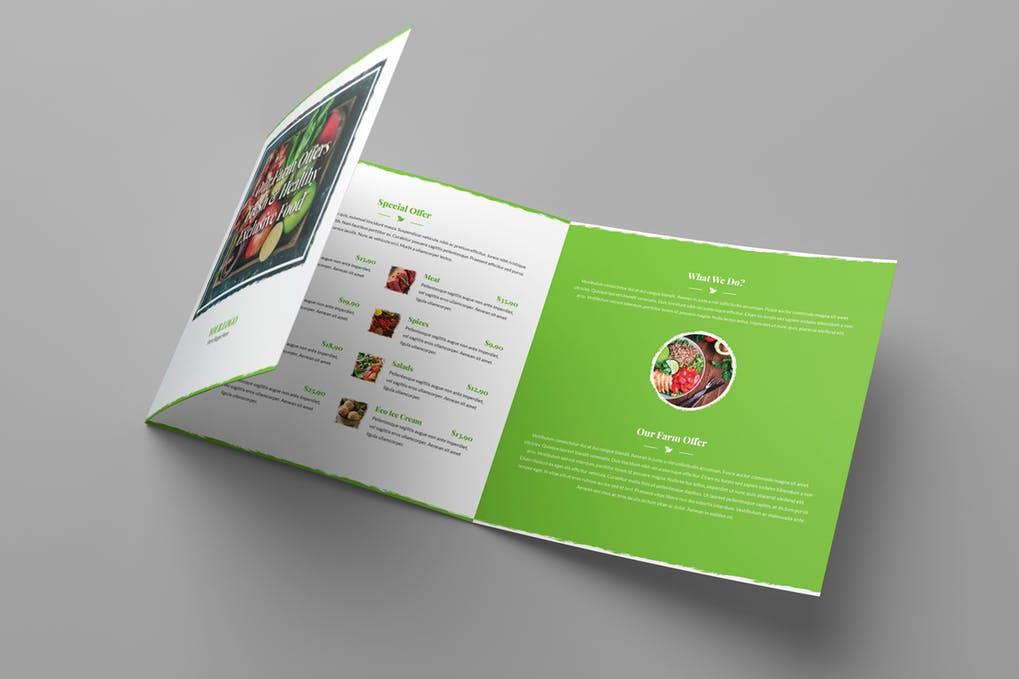 Brochure-–-Organic-Food-Tri-Fold-Square - 60+ Bi-fold & Tri-fold Brochure Design Templates [year]