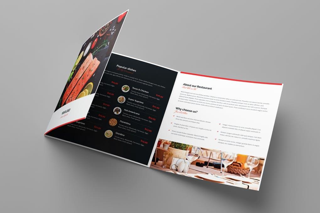 Brochure-–-Restaurant-Tri-Fold-Square - 60+ Bi-fold & Tri-fold Brochure Design Templates [year]