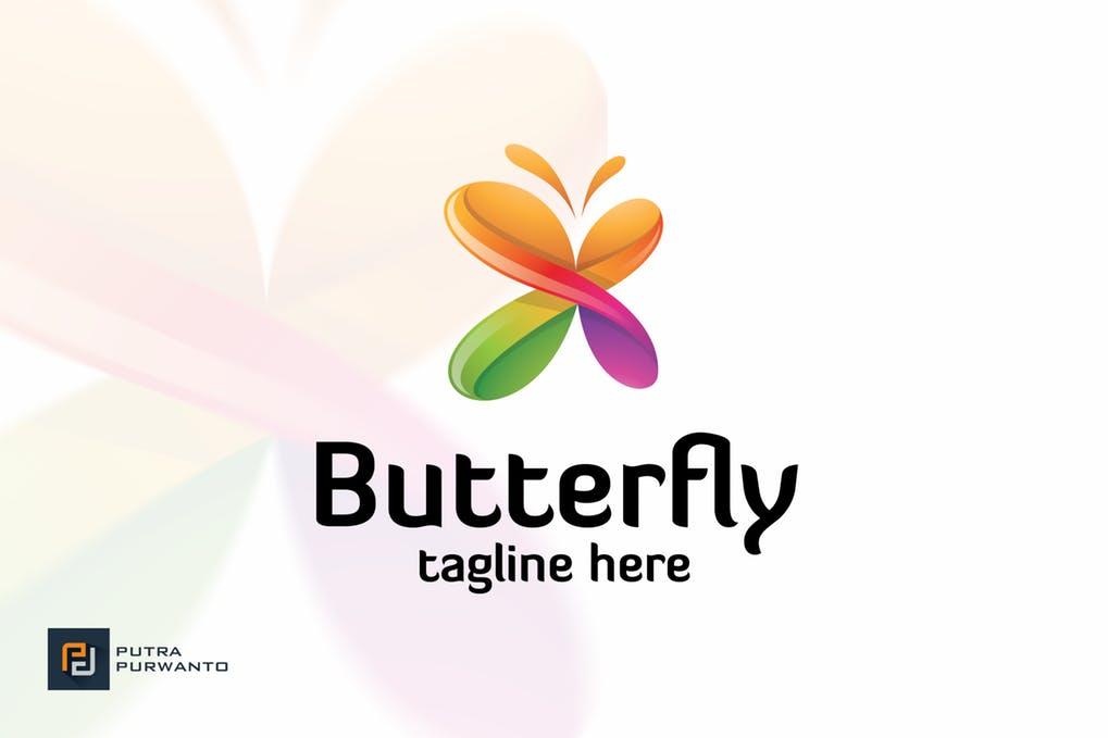 Butterfly-Logo-Template - 35+ Glamor 3D Flat Logo Design Templates