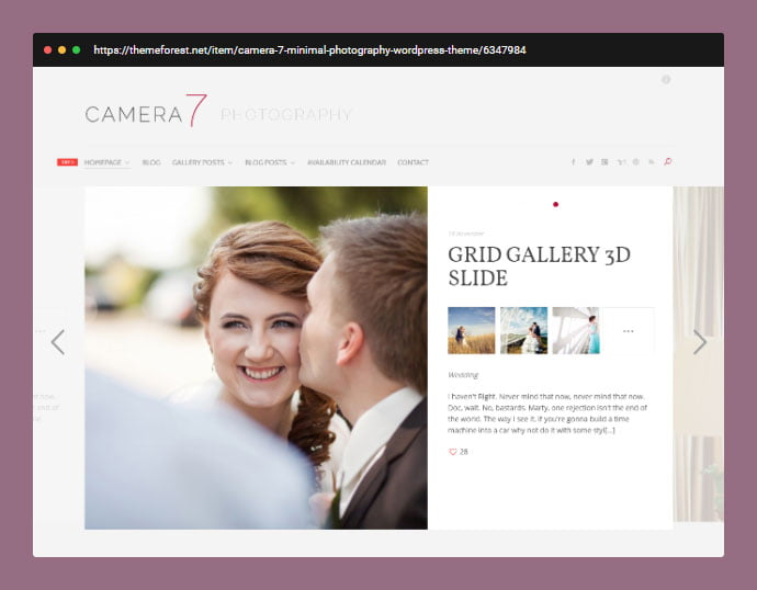 Camera-7 - 30+ Wedding Photography WordPress Themes [year]