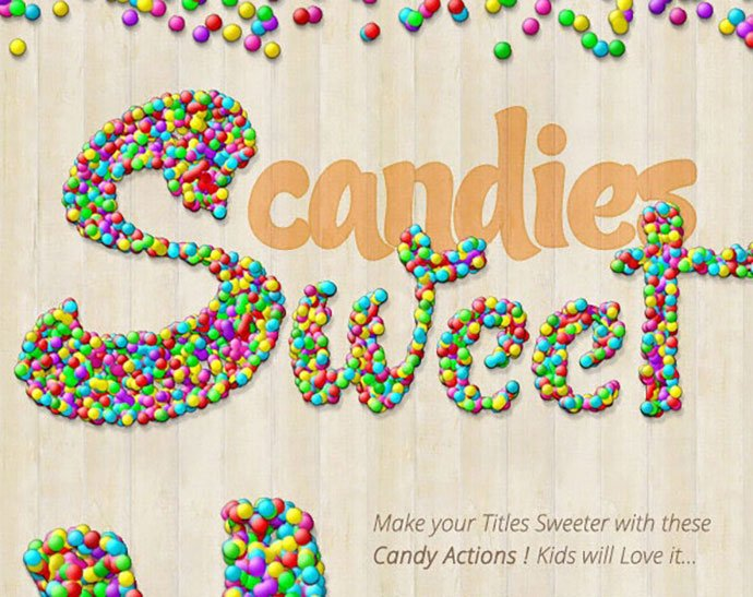Candy-Text-Creator-Photoshop-Actions - 35+ Tasty Food & Drink Photoshop Text Effects