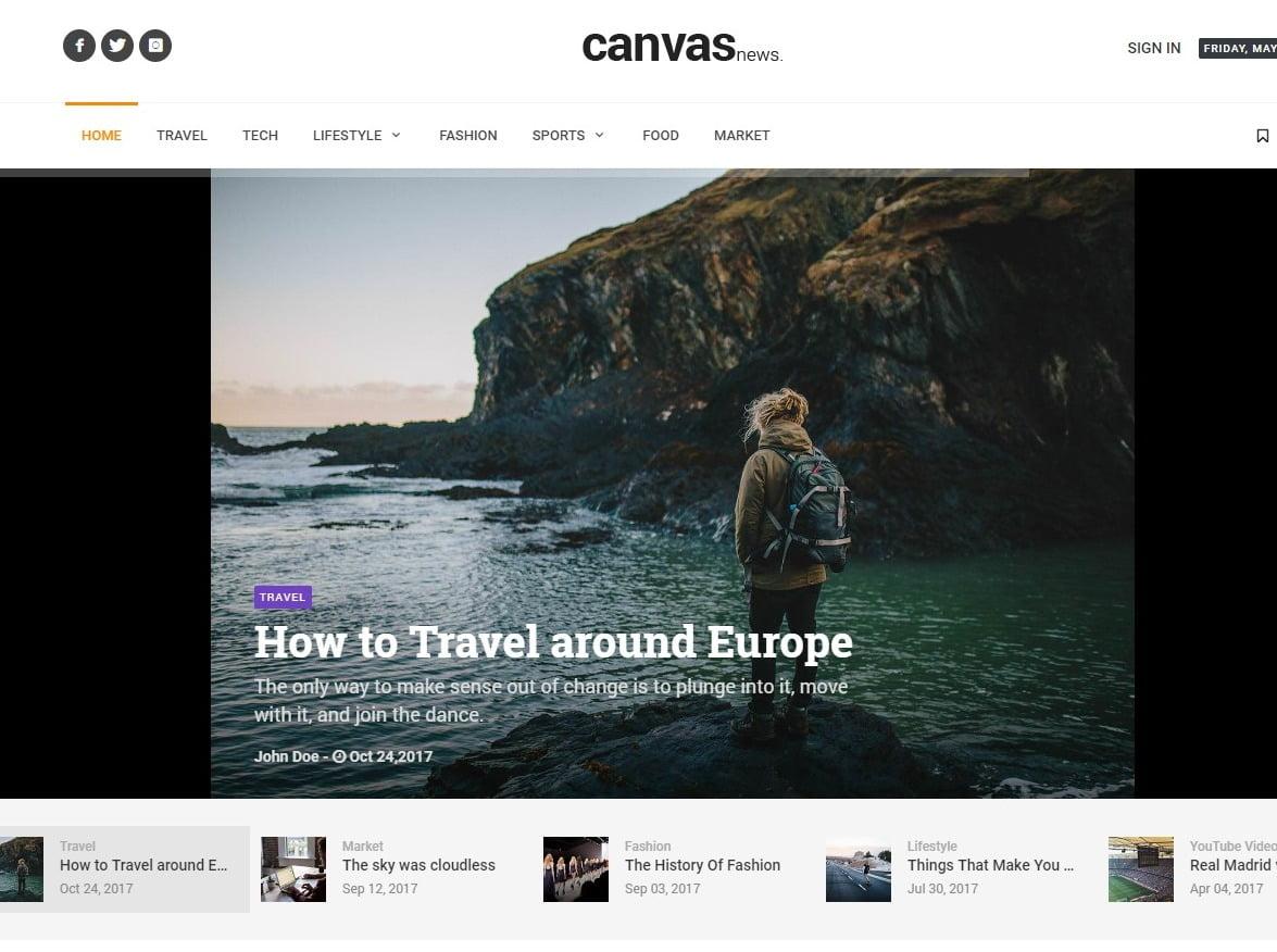 Canvas - 45+ Responsive News Website Templates [year]
