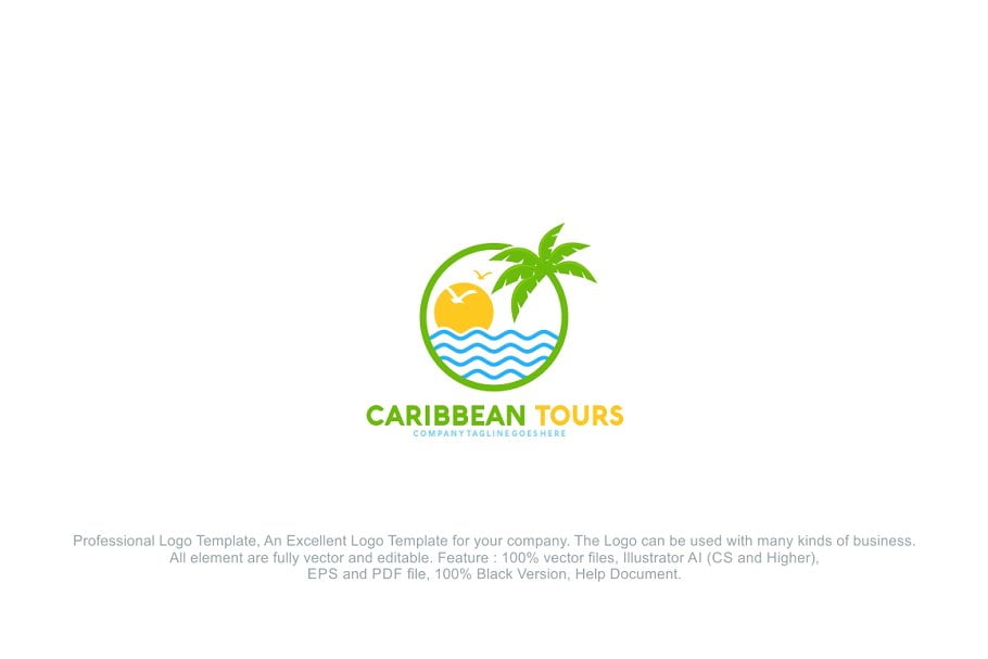 Caribbean-Tour-Summer-Travel - 60+ Strong Tree Logo Design Templates [year]